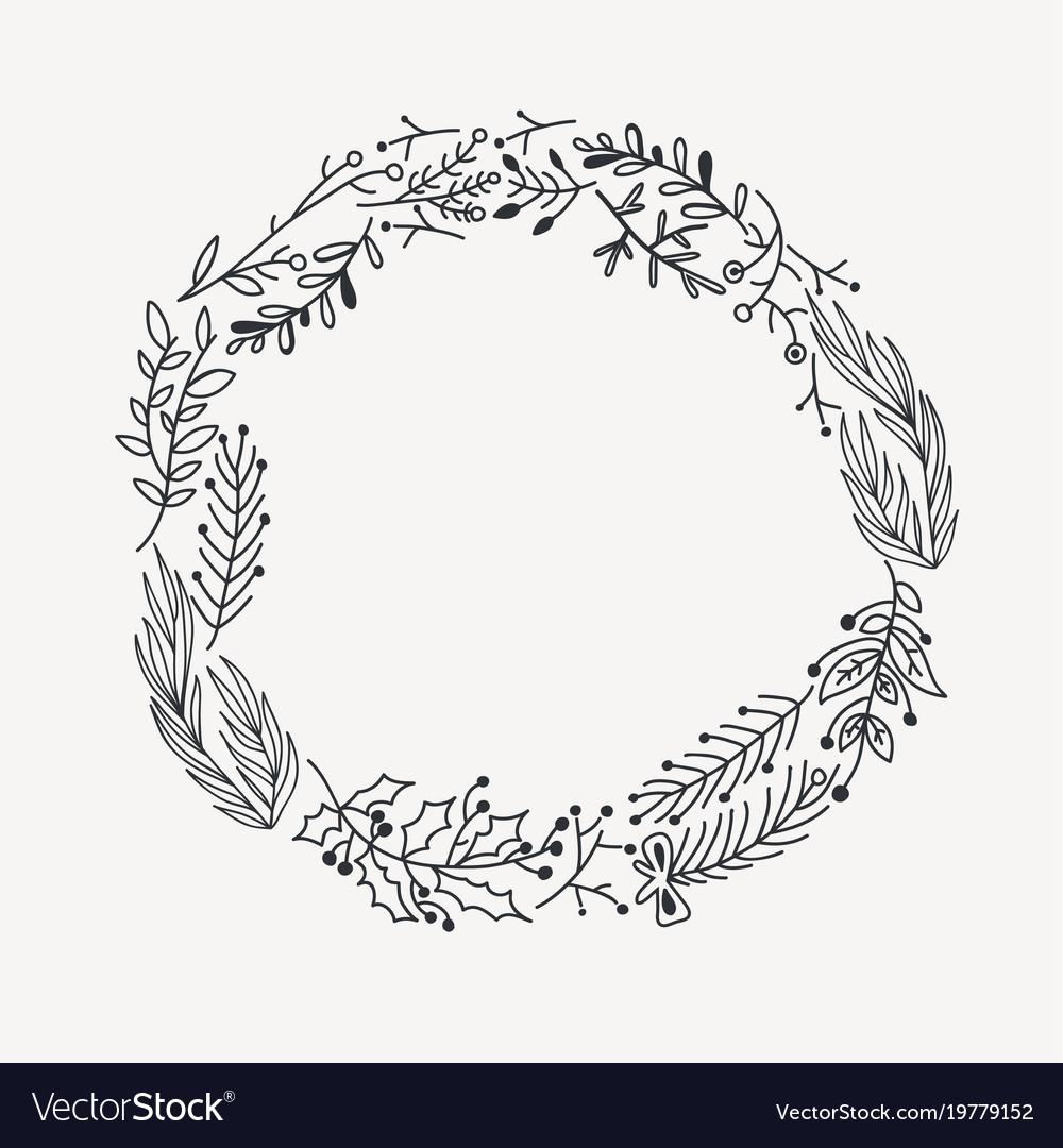 Sketch festive christmas round wreath