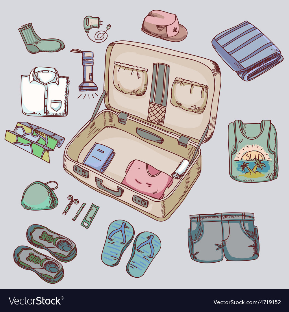 Suitcase with things clothing for travelling
