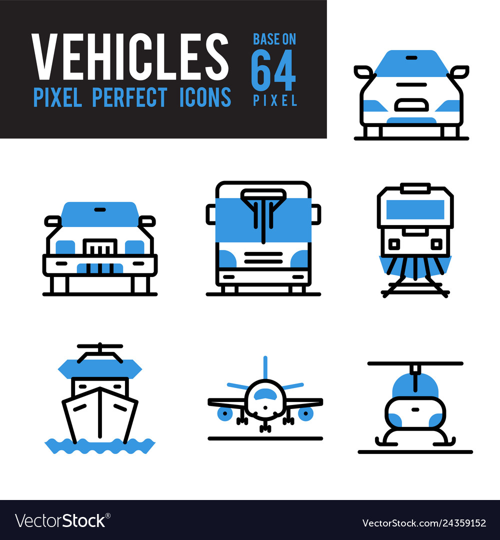 Vehicle and transport monocolor icon pixel