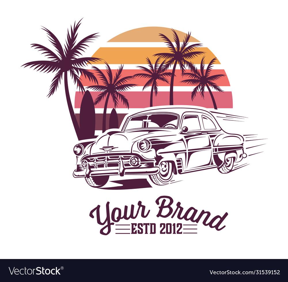 Vintage summer design with vintage car