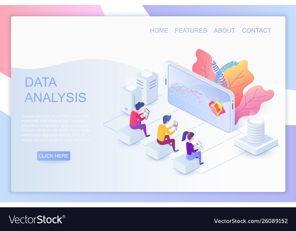 Web analytics isometric landing page