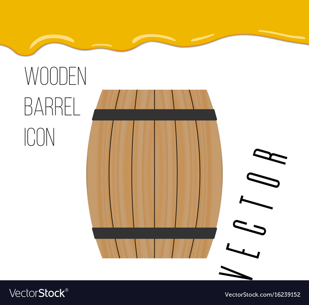 Wooden barrel icon with honey drops vector image