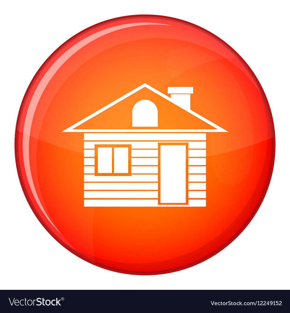 Wooden log house icon flat style