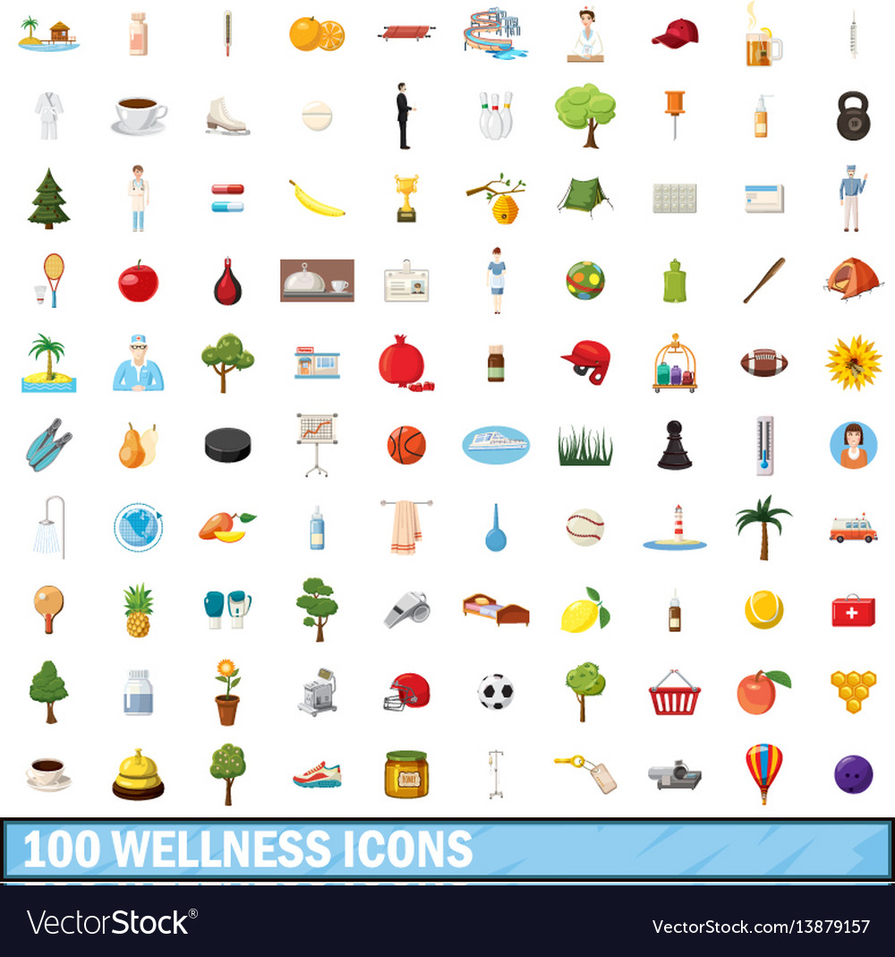 100 wellness icons set cartoon style