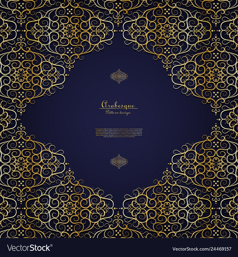 Arabesque blue element gold flower background