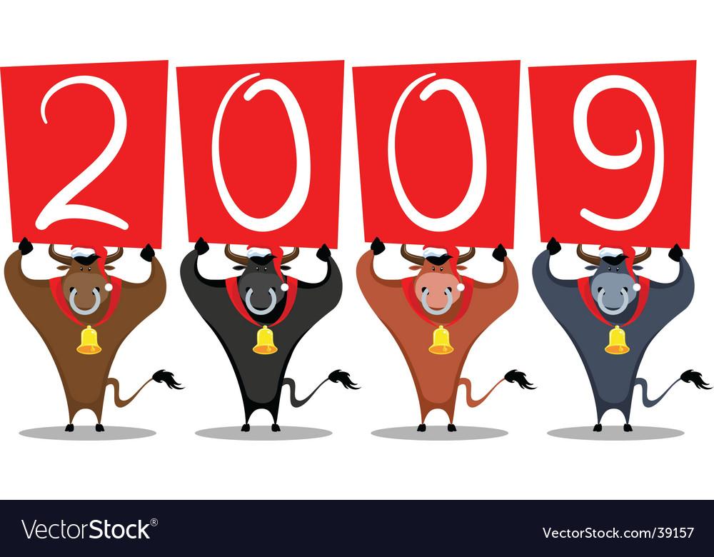 Cartoon bull 2009 year vector image