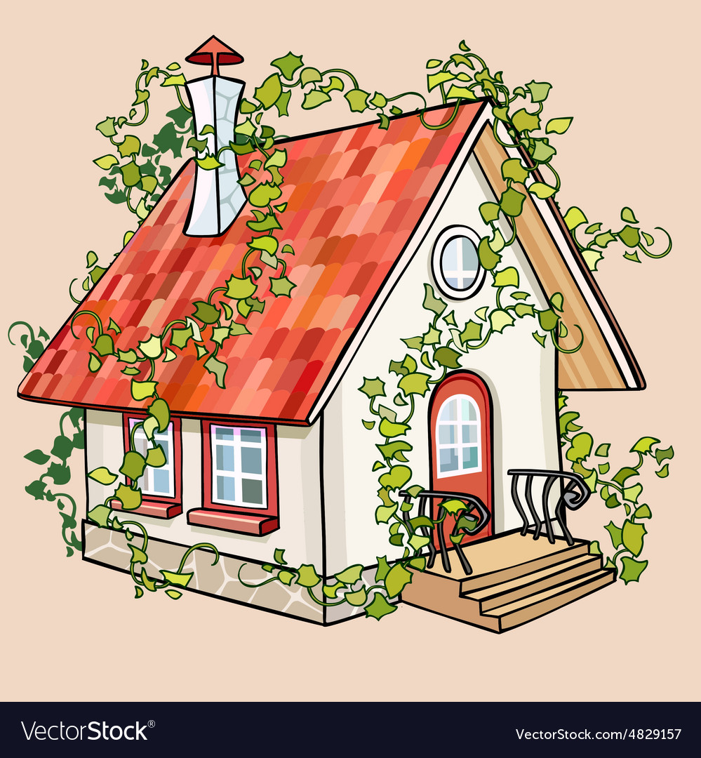 Cartoon fairy house overgrown with ivy vector image