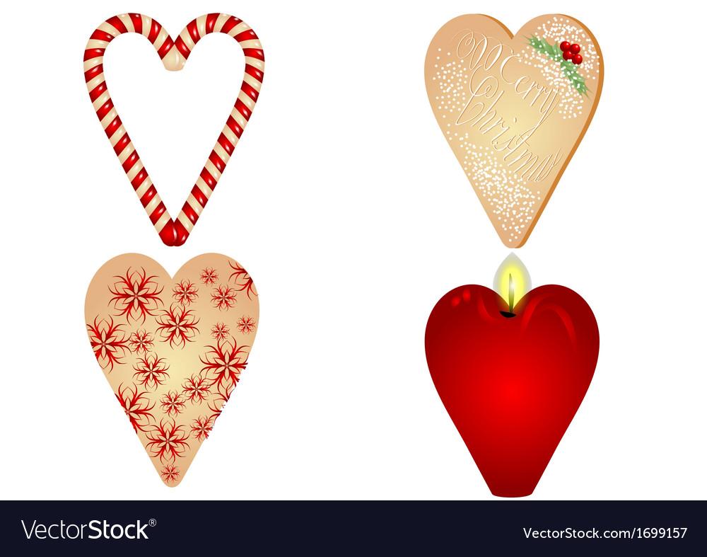Christmas heart on white background vector image
