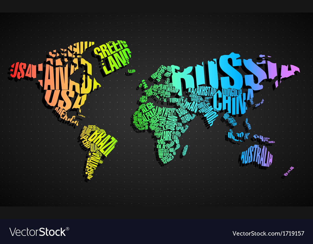 Colorful World Map in Typography