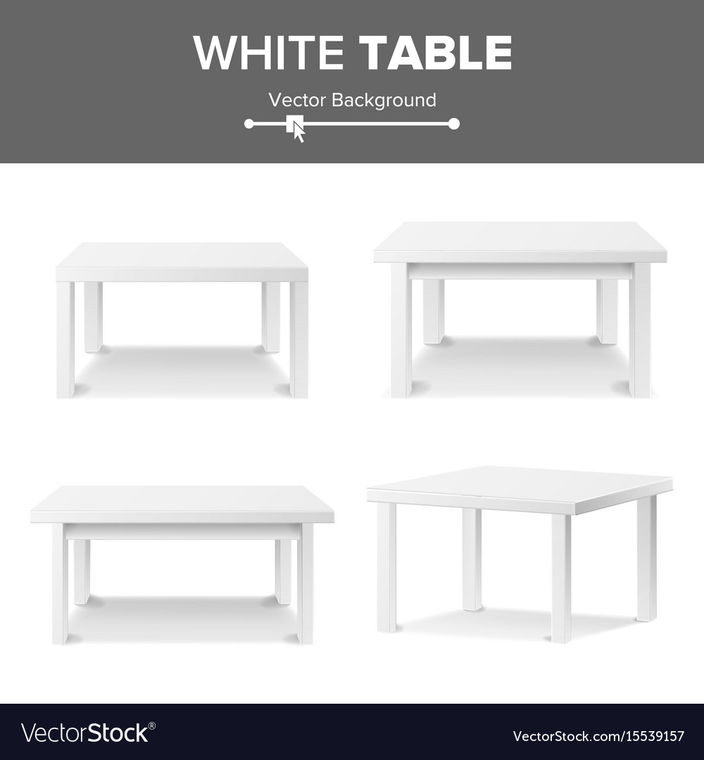 Empty white plastic table set isolated on white