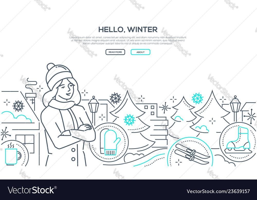 Hello winter - modern line design style web
