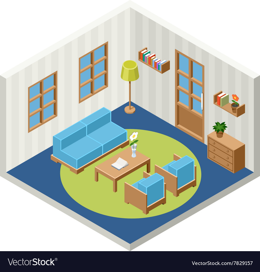 Interior of the isometric room with