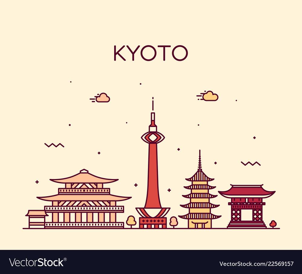 Kyoto skyline japan linear style city