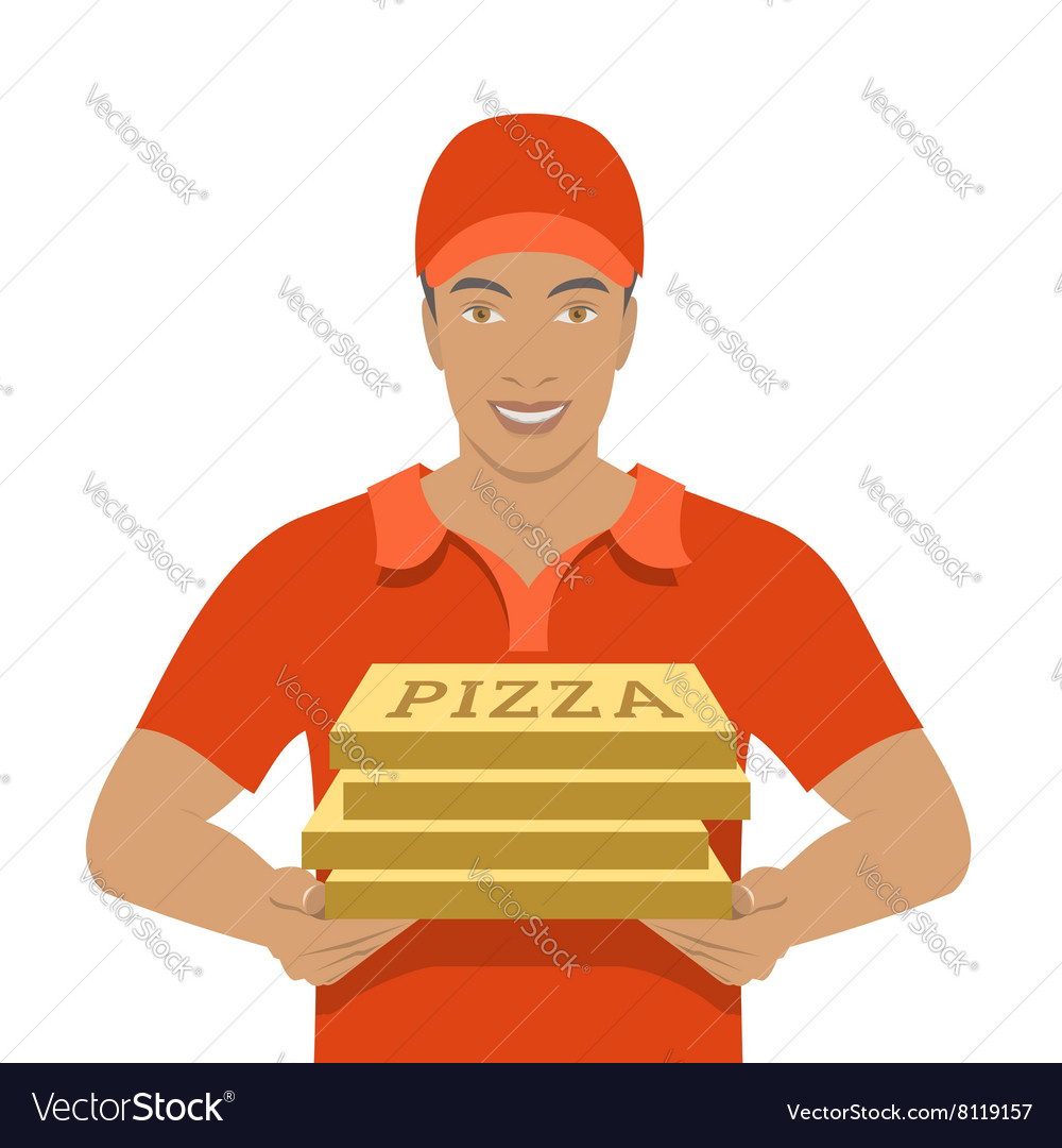 Pizza delivery boy holding cardboard boxes