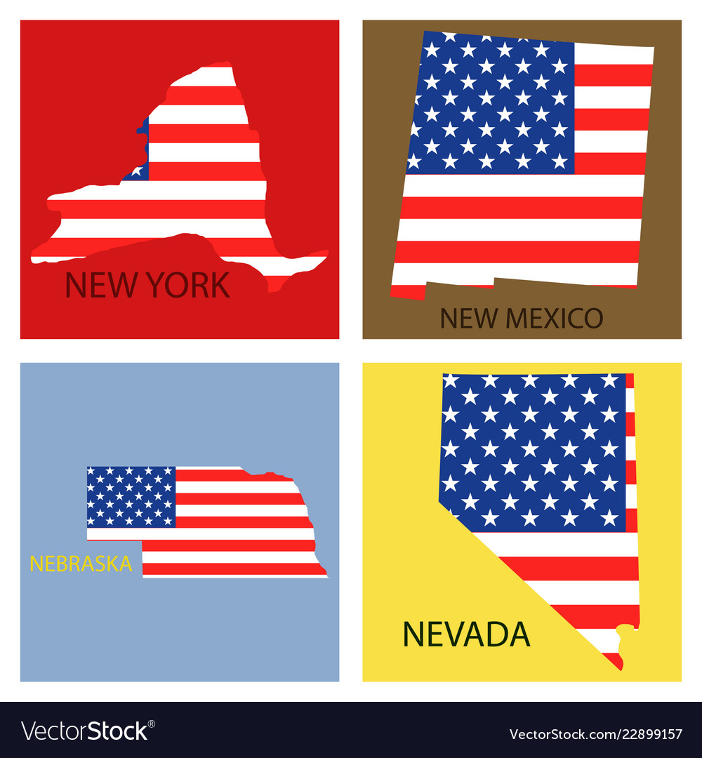 State Map Of United States Of America.Poster Map Of United States Of America With State Vector Image On Vectorstock