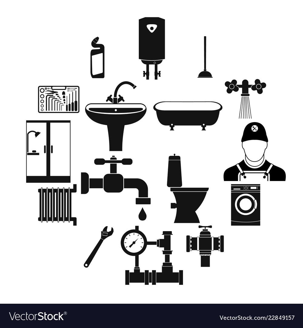 Sanitary engineering simple icons