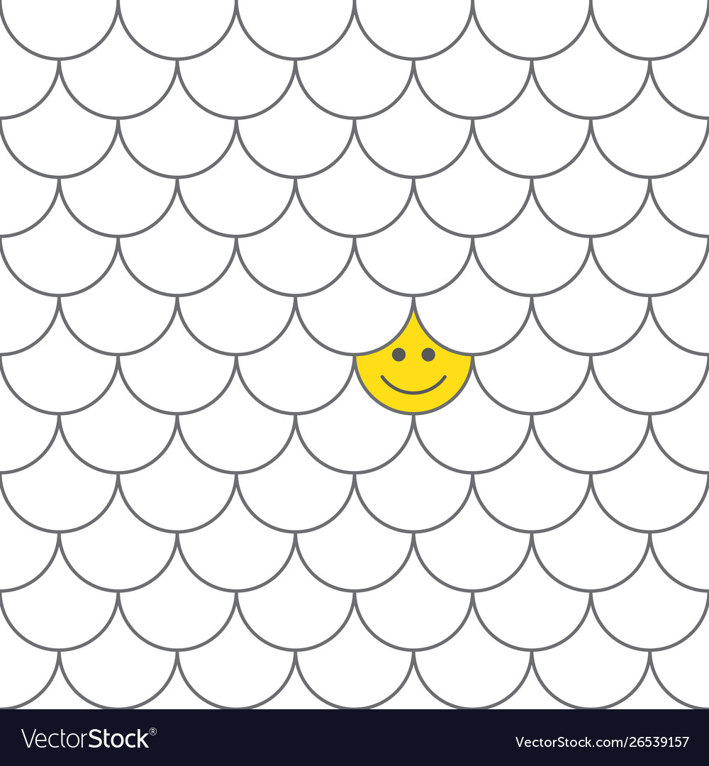 Seamless pattern fish scales with smiling happy