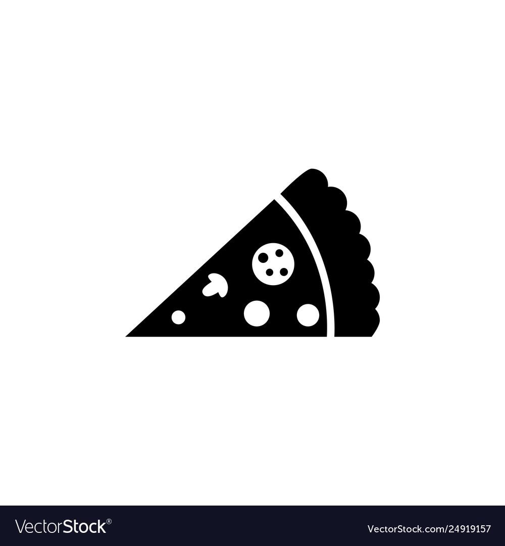 Slice pizza fast food flat icon