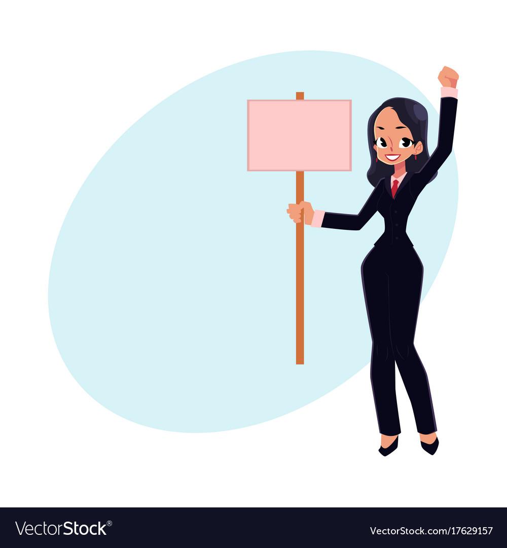 Smiling girl woman businesswoman on strike