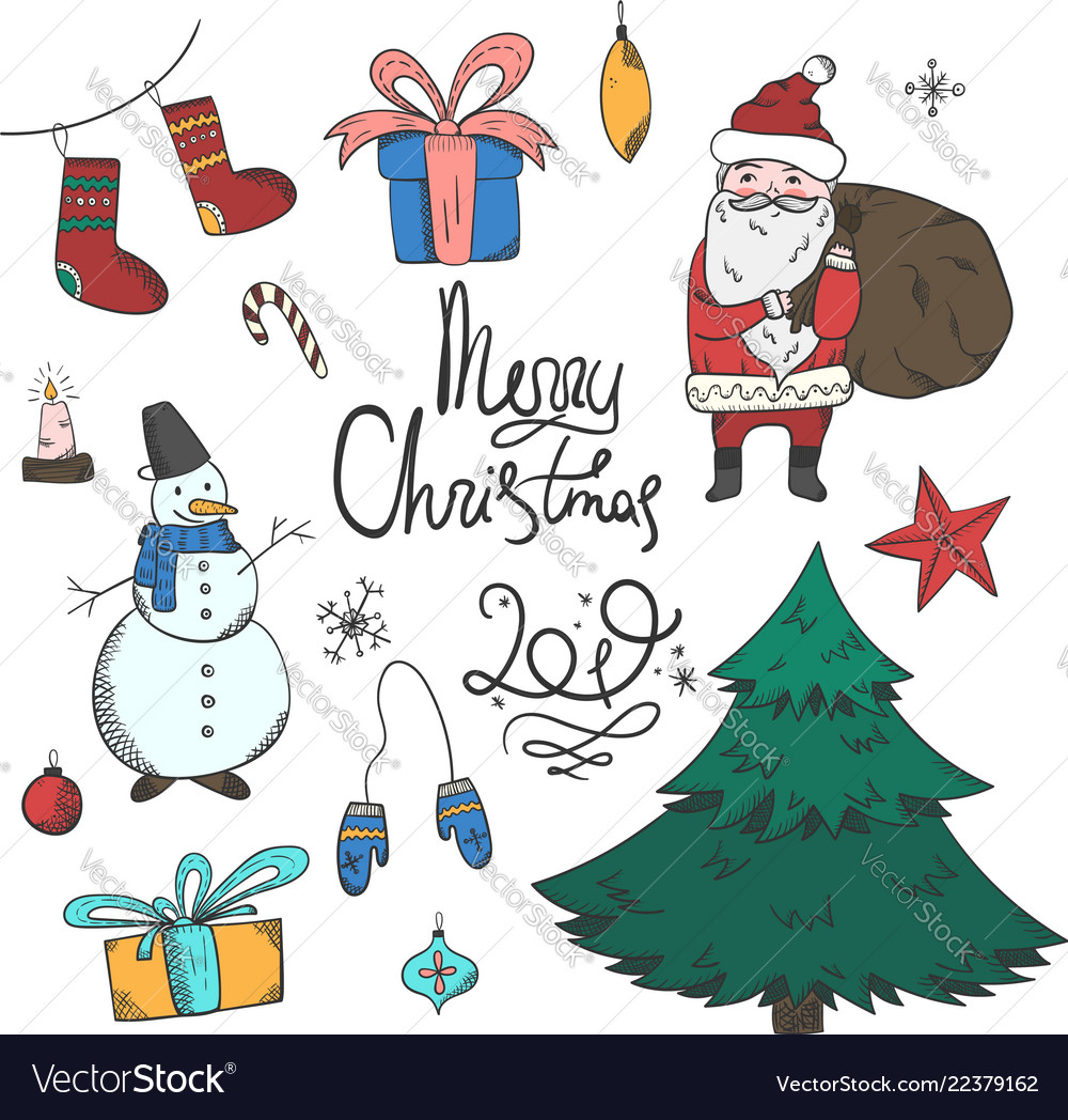 Bright colorful set of doodle christmas elements