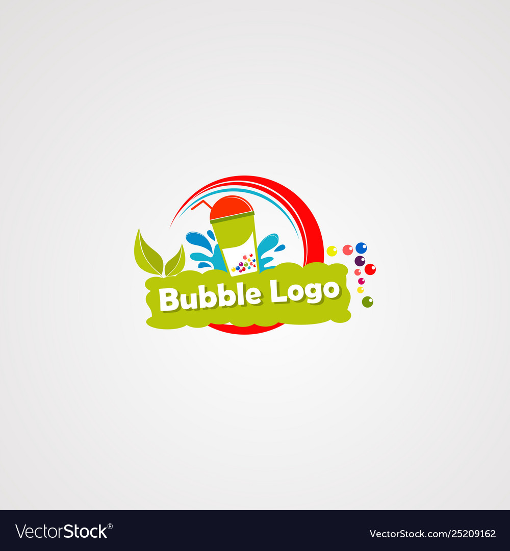 Bubble drink logo with fresh leaf and water