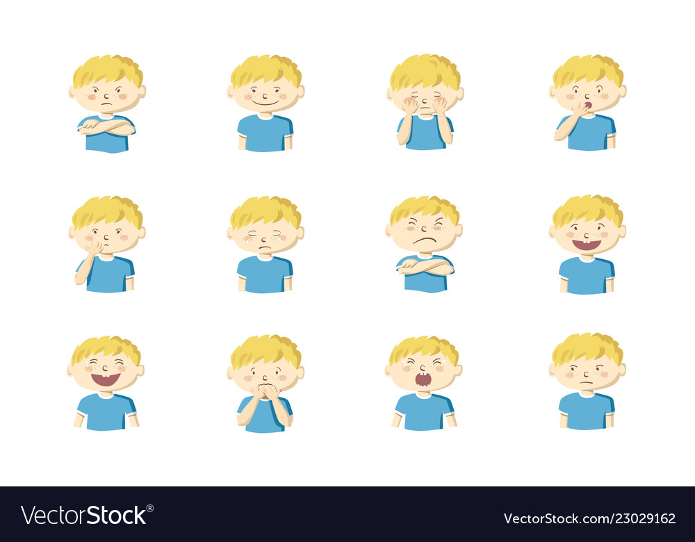 Collection of 12 of little boy showing different