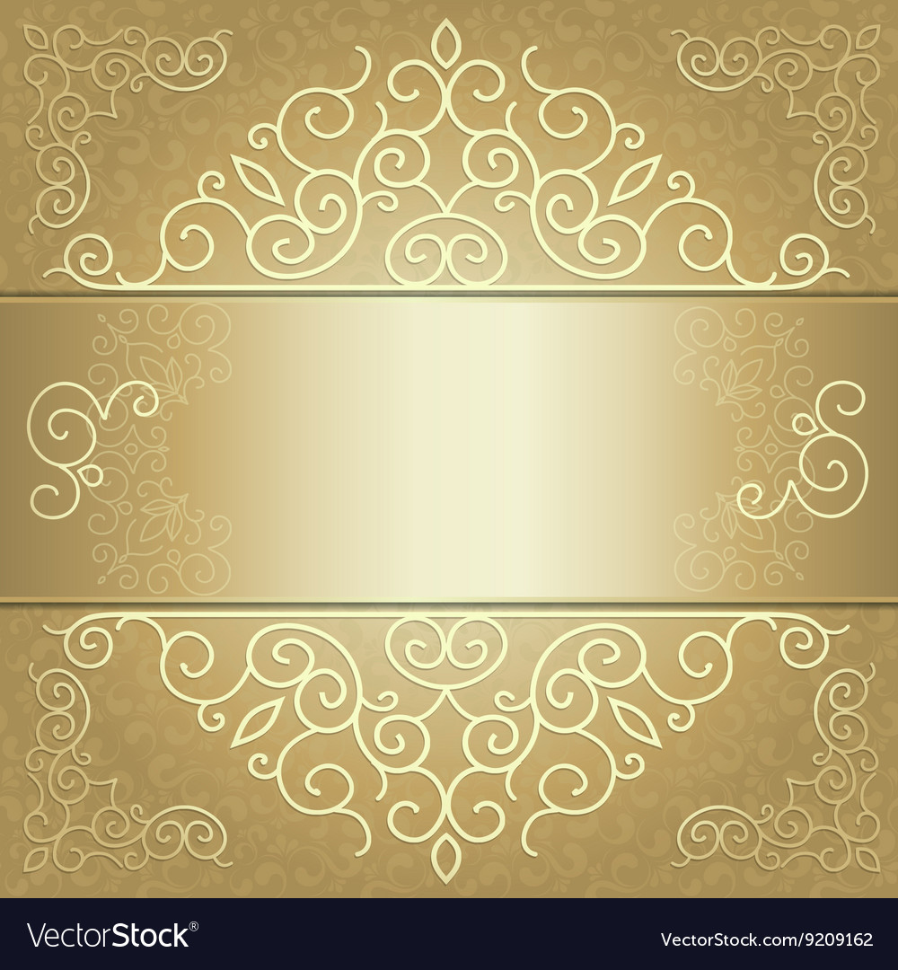 Golden Background Card Invitation Or Menu