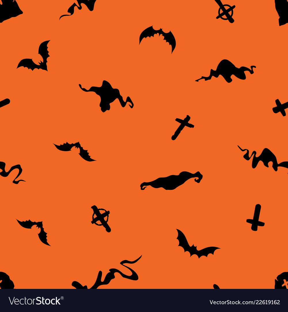Halloween seamless pattern with bats crosses and