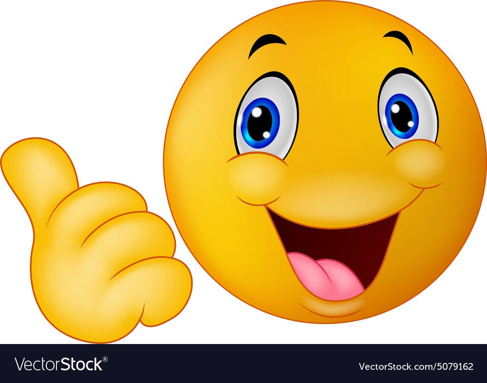 Happy Smiley Emoticon Giving Thumbs Up Royalty Free Vector