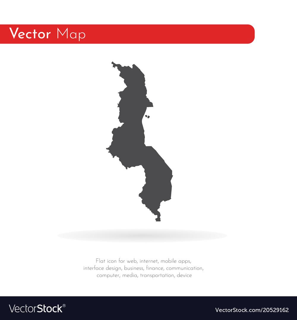 Map malawi isolated black on
