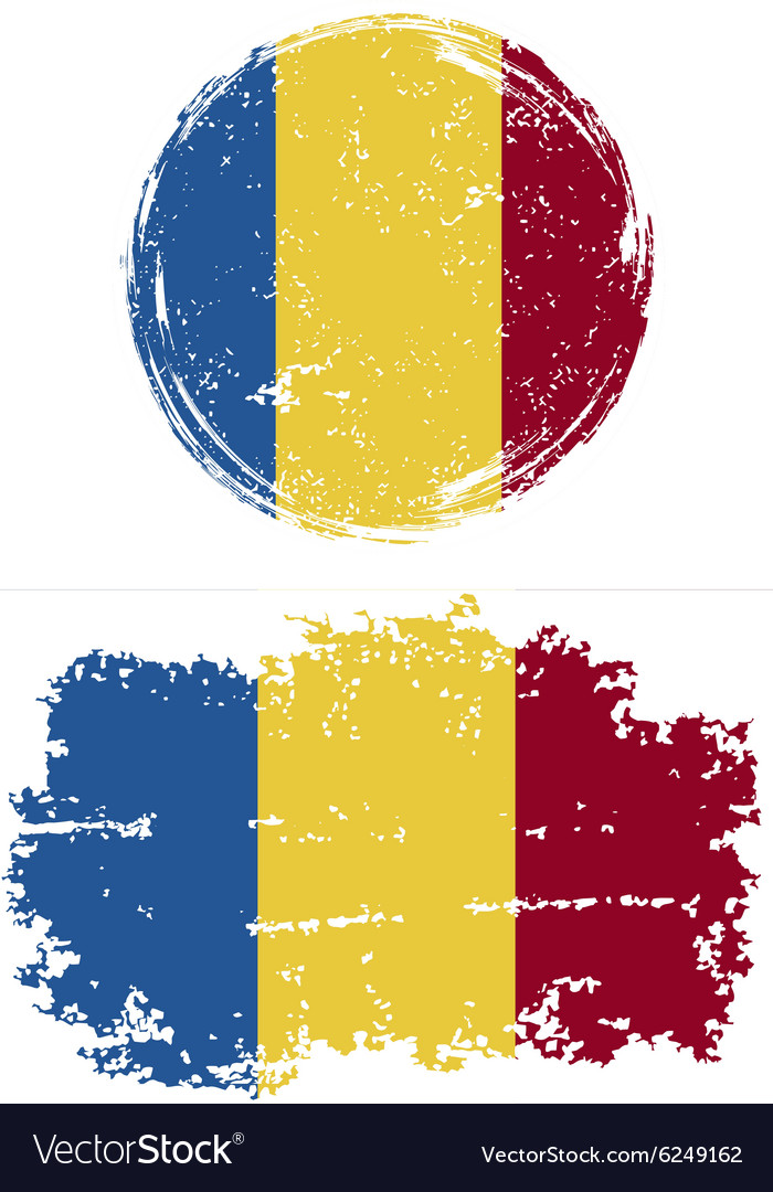 Romanian round and square grunge flags vector image