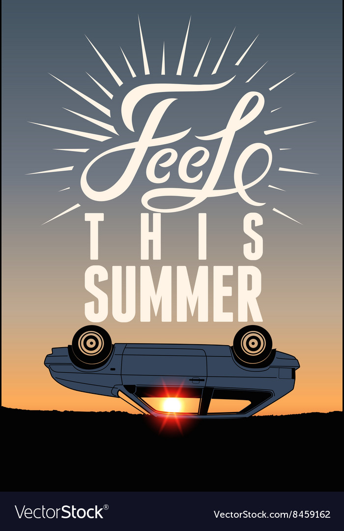 Summer time typographical retro poster