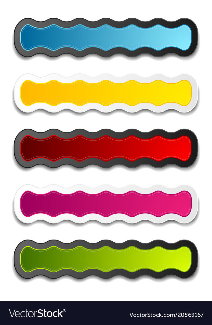 Abstract bright wavy stickers design set