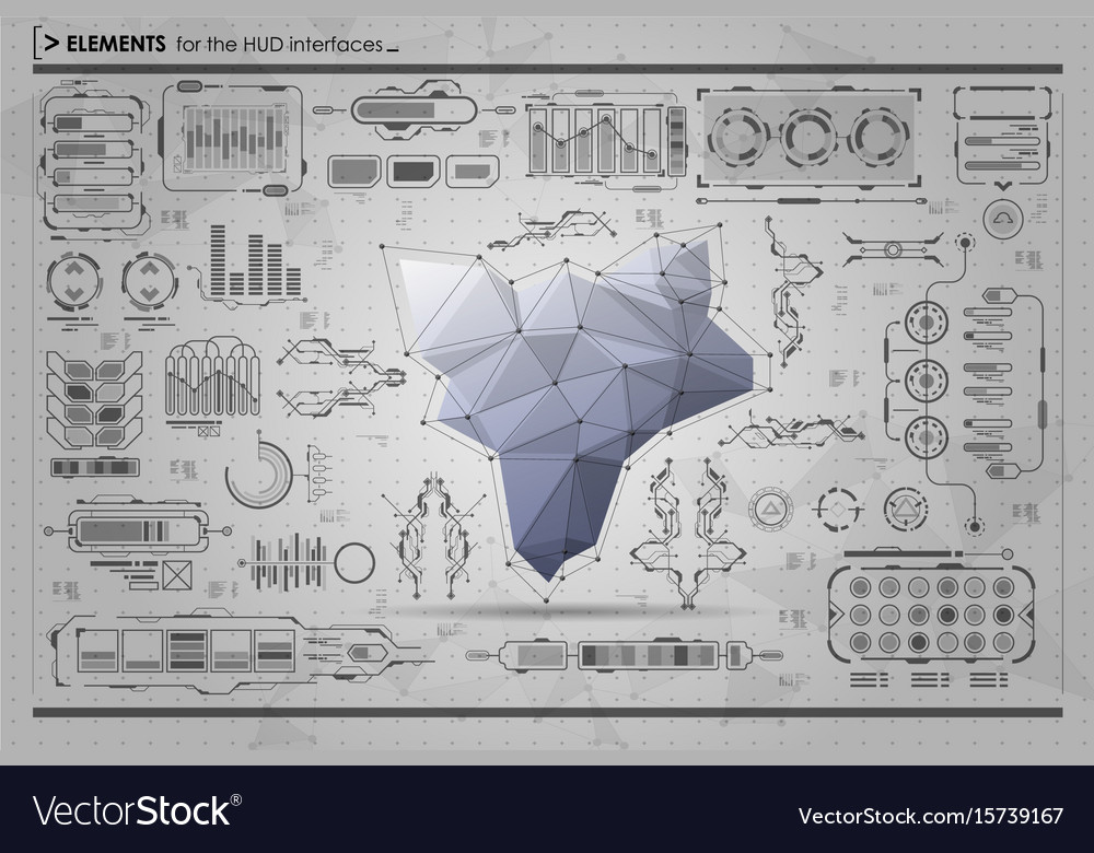 Black and white infographic elements hud ui for vector image