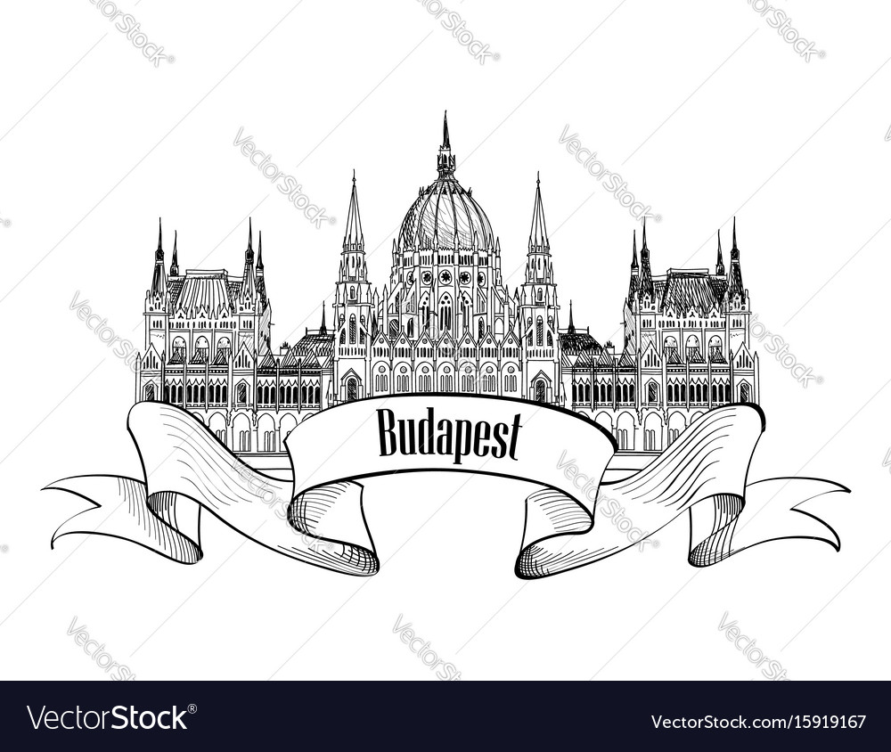 Budapest city sign famous parlament building vector