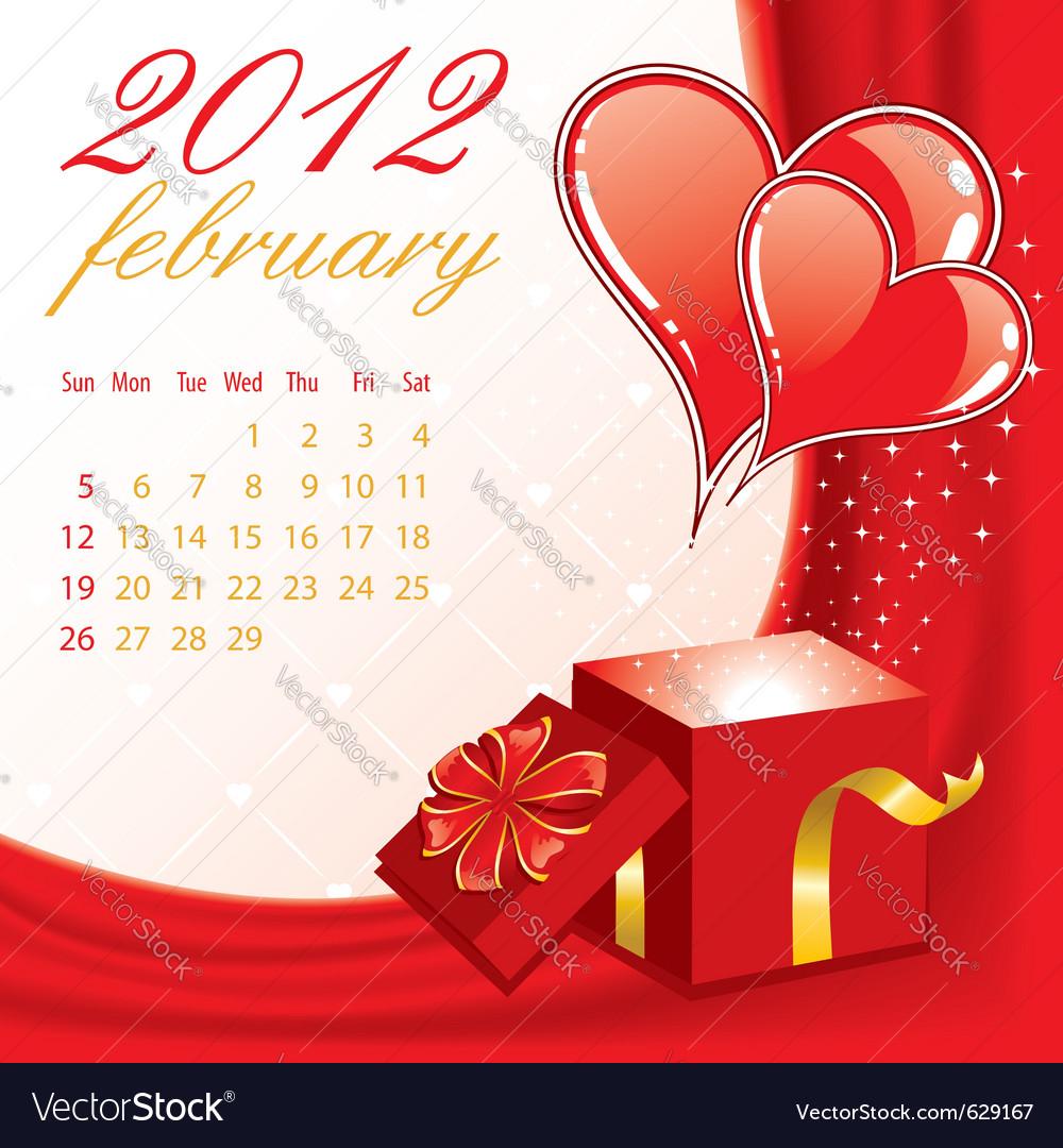 Calendar for 2012 february vector image