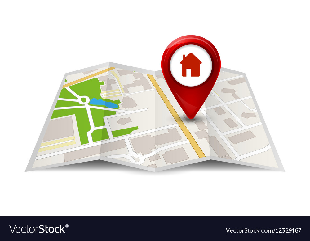 City map street view with labels or pins GPS