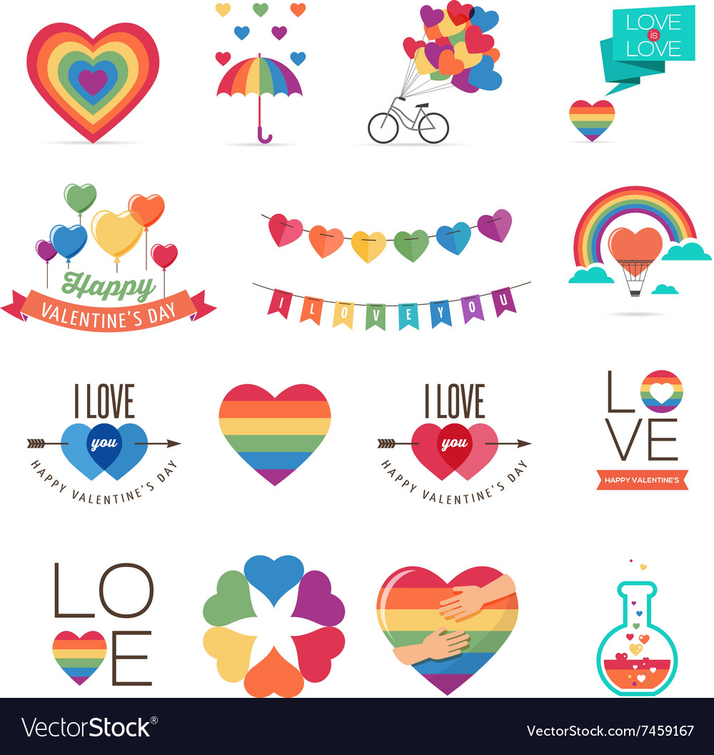 Rainbow gay themed valentines day card with shifted colors clipart