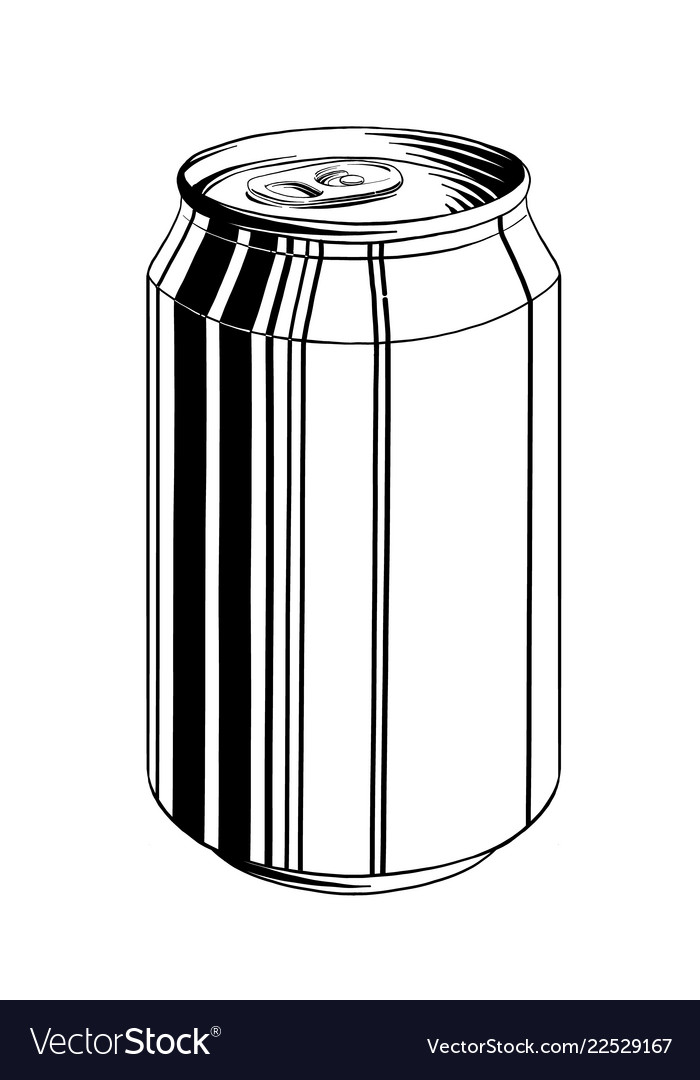 Hand drawn sketch of aluminum can in black
