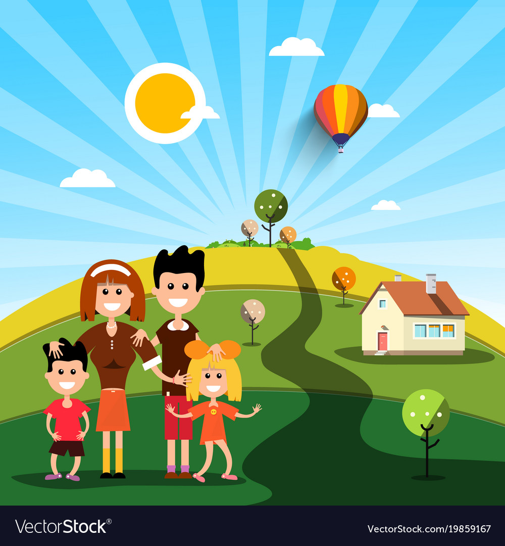 Happy family with house on sunny day on field