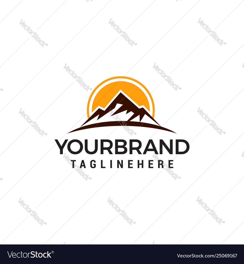 Mountain sun logo design concept template