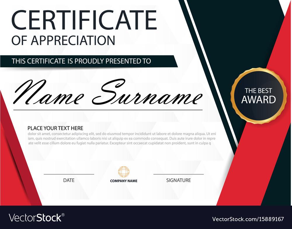 Red Black Elegance Horizontal Certificate Template