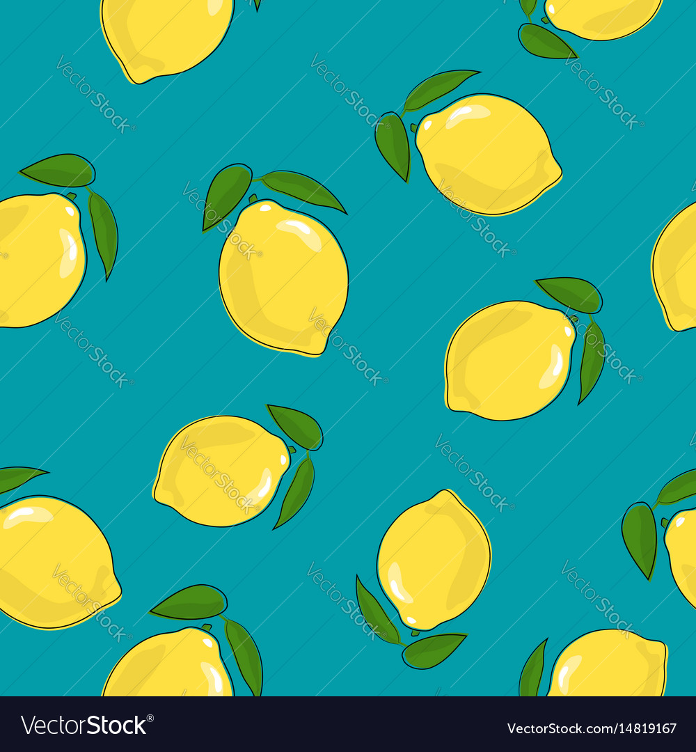 Seamless pattern lemon on azure background vector image