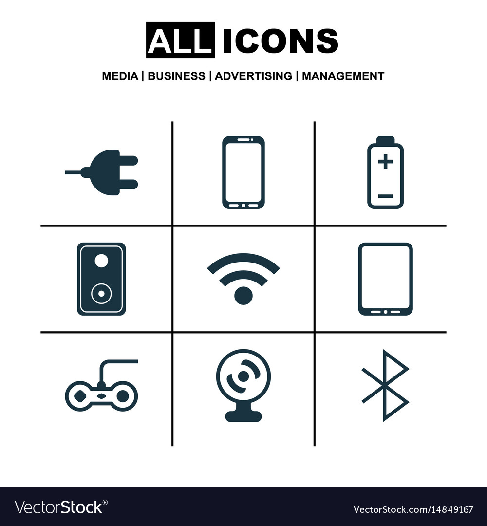 Set of 9 computer hardware icons includes web