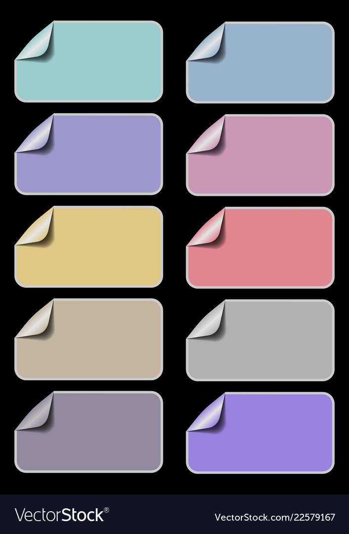 Set of empty labels in different pastel colors