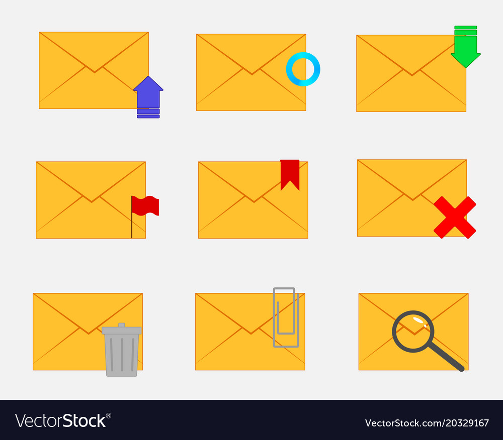 Set of envelopes with functions vector image