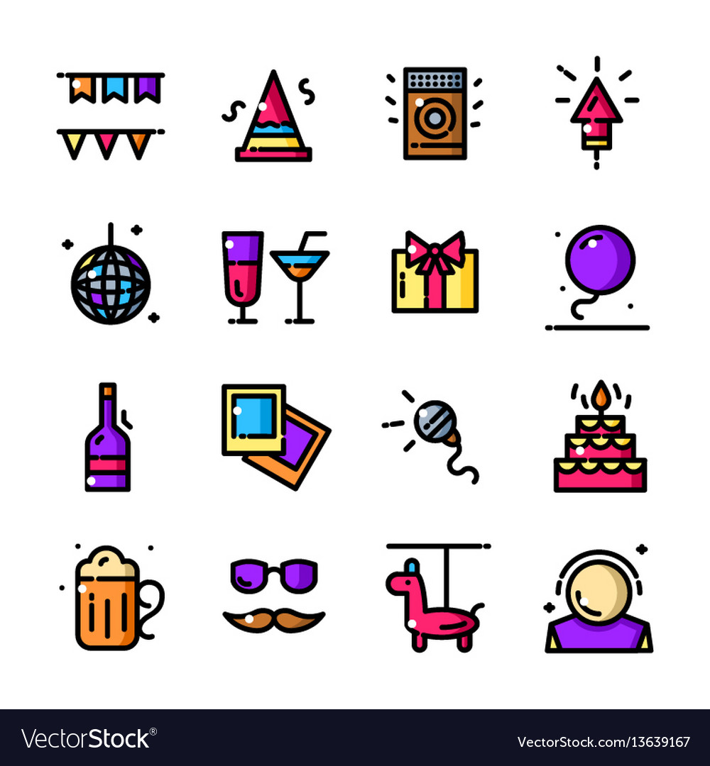Thin line party icons set