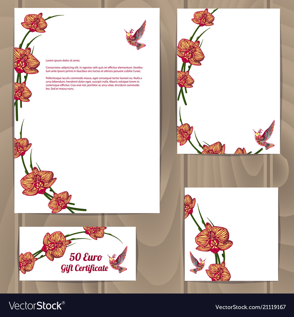 White with orchid flowers design templates