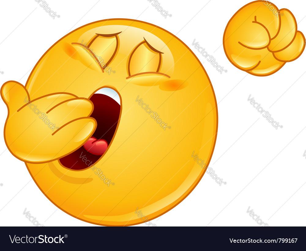 Yawn emoticon vector image