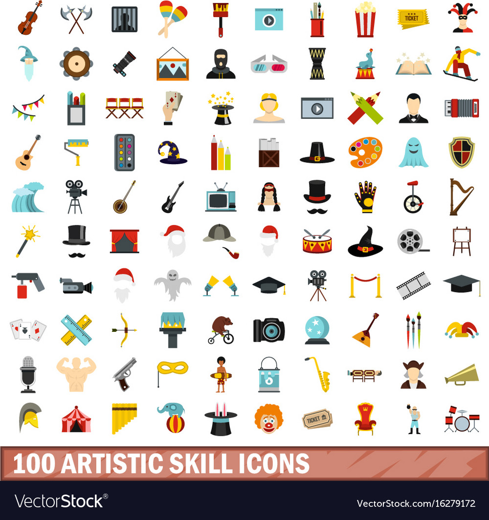 100 artistic skill icons set flat style vector image